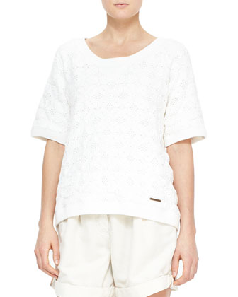Short-Sleeve Crochet Knit Top & Tailored Shorts