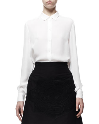 Farrah Cropped Tuxedo Jacket, Button-Front Wilson Silk Blouse & ...