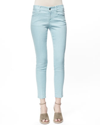 Skinny Ankle Grazer Jeans, Teal Blue