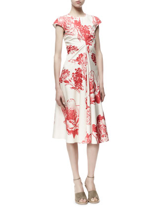 Noemi Panama Flower-Print Dress, Cream/Chili