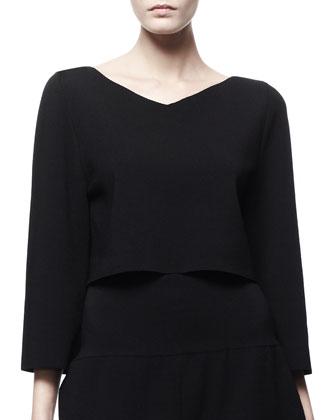 3/4-Sleeve Crop Top, Black