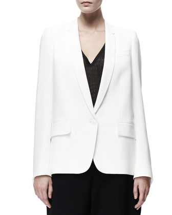 Relaxed Stretch Cady Jacket & Croc-Embossed Sheer Jersey Tee