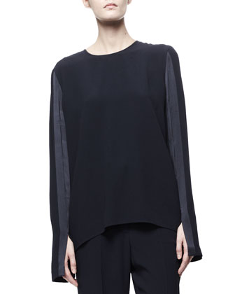 Satin-Trim Slit-Sleeve Blouse, Black-Blue Merle