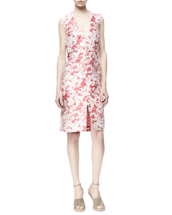 Giona Sleeveless Daisy Jacquard Sheath Dress, Berry