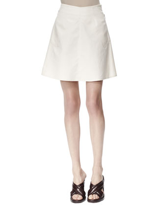 Letizia Cotton Pique Skirt, White