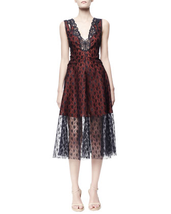 Rosebud Lace Dress, Blue/Red