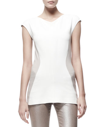 Contour Colorblock Jersey Tee, Cream/Tan
