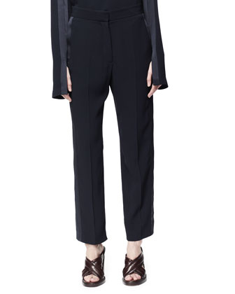 Satin-Trim Slit-Sleeve Blouse & Lorette Satin-Striped Crop Pants
