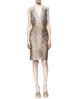 Giona Croc Jacquard Dress, Natural/Gold
