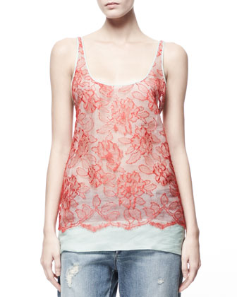 Heirloom Floral Lace-Overlay Tank, Chili