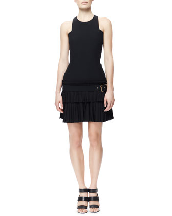 Fitted Buckled Kilt-Skirt Tank Dress, Black