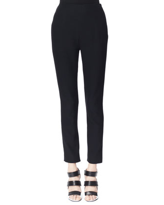 High-Waist Crepe Pants, Black
