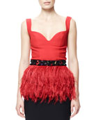 Ostritch Feather Peplum Top with Beaded Belt
