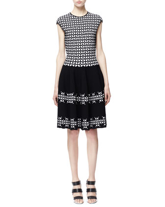Fit-and-Flare Jacquard Dress, Black/White