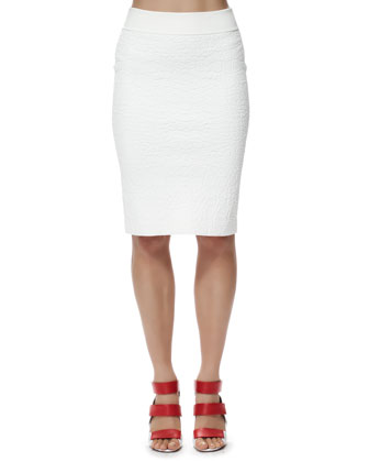 Crocodile-Embossed Pencil Skirt