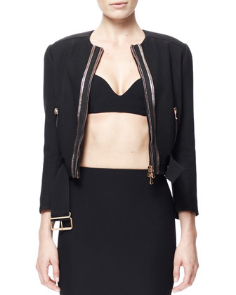 Golden-Zip Belted Crepe Biker Jacket, Crepe Bra Top & Single Pencil Crepe ...