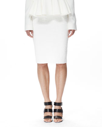 Crocodile Crepe Pencil Skirt