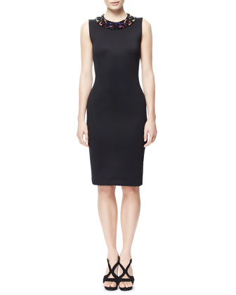 Sheath Dress with Hand-Beaded Collar, Black