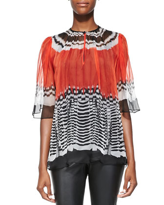 Feather-Print Chiffon Blouse