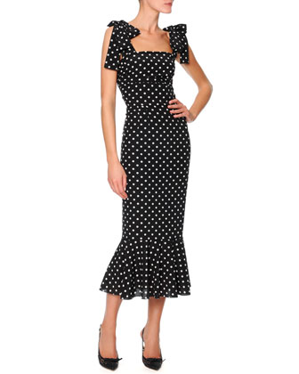 Bow-Shoulder Flounce-Hem Polka Dot Dress, Black/White