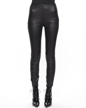Side-Zip Leather Leggings