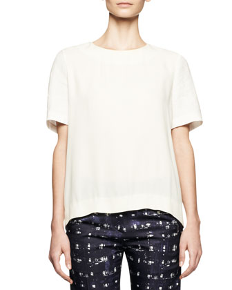 Short-Sleeve Linen-Blend Top and Square-Print Ankle Pants