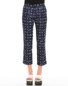 Square-Print Ankle Pants