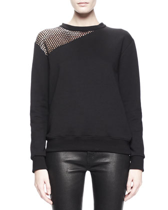 Diagonal Mesh-Panel Sweater and Side-Zip Leather Leggings