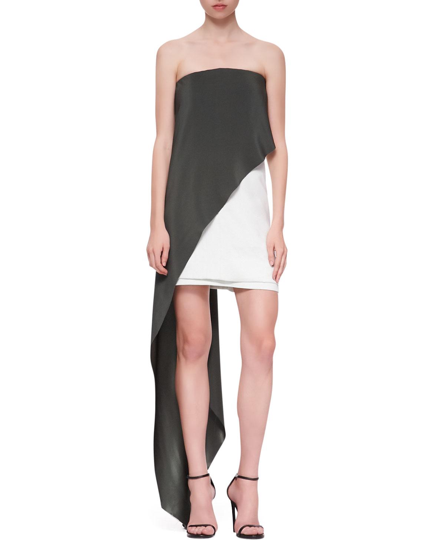 Womens Strapless Draped Dress, Aqua/White   Narciso Rodriguez   Aqua (42)