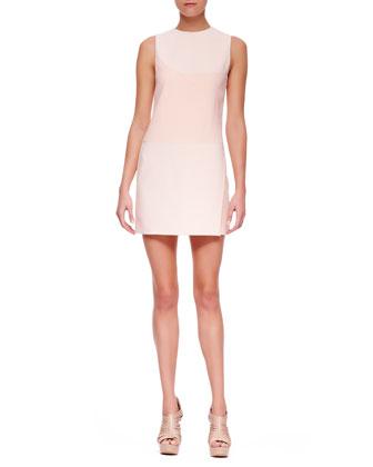 Crewneck Crepe Minidress, Blush