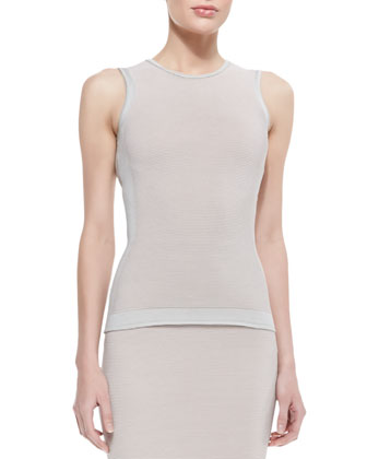 Paneled Cutout-Back Top and Fitted Paneled Knit Skirt