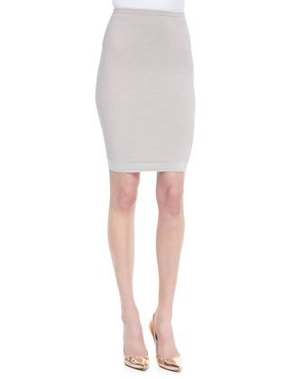 Fitted Paneled Knit Skirt