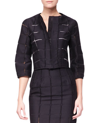 3/4-Sleeve Darted Geometric Jacket & Straight Skirt