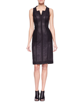 Vertical-Paneled Sheath Dress
