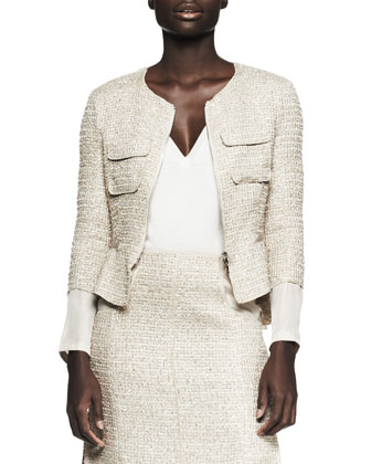 Tweed Drape-Back Zip Jacket and Patch-Pocket Pencil Skirt & ...