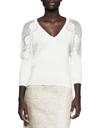 V-Neck Lace-Embroidered Pullover