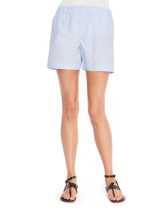 Pull-On Cotton Chambray Shorts, Blue