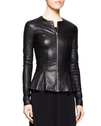 Anasta Leather Peplum Jacket, Black