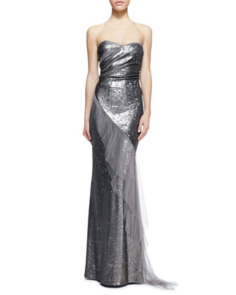 Strapless Sequined Ruffled Gown