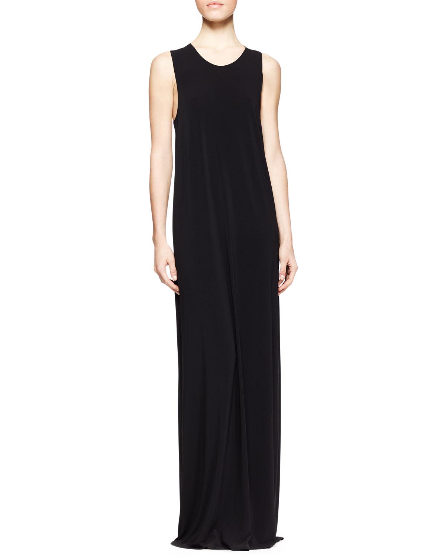Womens Long Draped Jersey Dress   THE ROW   Black (SMALL)