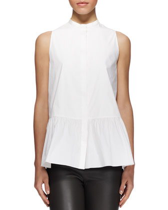 Sleeveless Buttoned Peplum Shirt and Jellerton Leather Ankle Pants