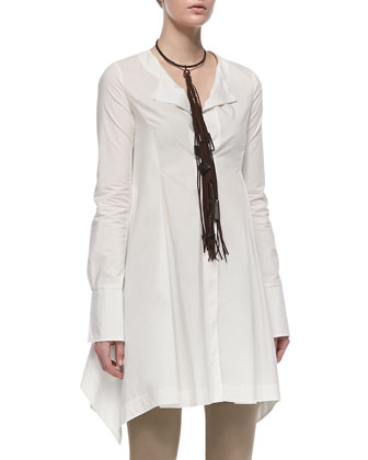 Long-Sleeve Button-Front Tunic