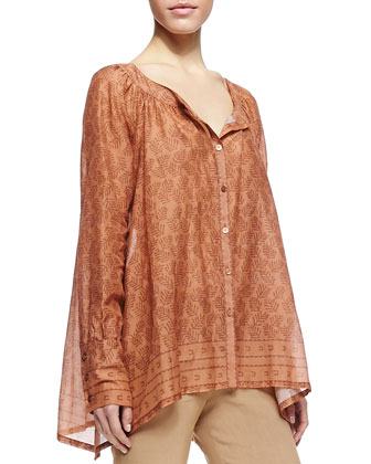Round Neck Printed Henna Blouse & Fold-Over Tube Pants