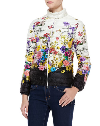 Short Floral-Print Puffer Coat, White/Black/Multi