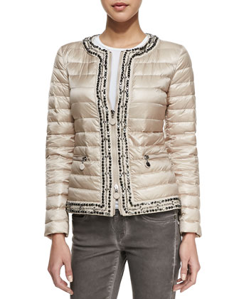 Zip Long-Sleeve Puffer Jacket with Studs