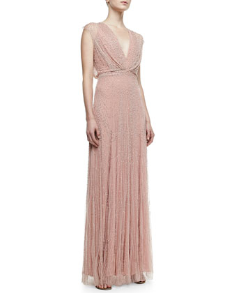 Topography Beaded Cap-Sleeve Gown, Powder