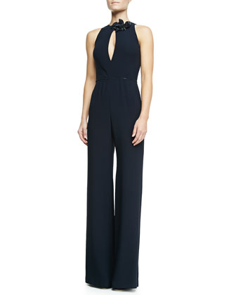 Halter Keyhole Jumpsuit, Midnight Navy