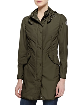 Long Snap-Front Jacket, Olive