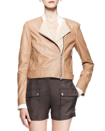 Kenswick Short Moto Jacket, Hammond Scarf-Tie Blouse & Neston Twill Pocket ...