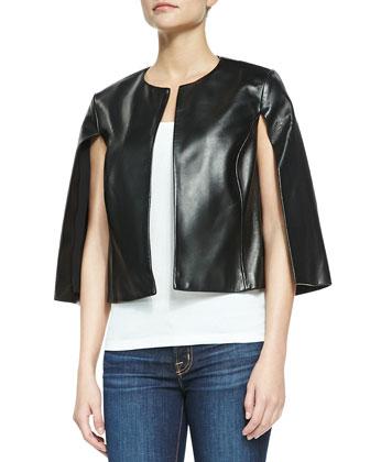 3/4-Sleeve Leather Cape Jacket
